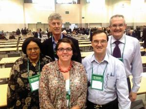 The Uniting Church in Australia delegates. L-R Charity Majiza, Rev Dr Chris Walker, Emily Evans, Rev Terrance Corkin and rev Prof Andrew Dutney.