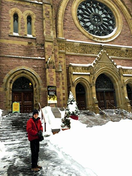 Arriving at St James United Church, Montreal.