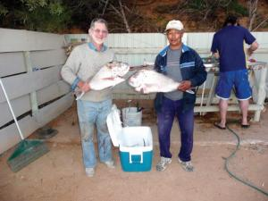 Rev Dr Les Brockway and Anthony Solomons after a previously succesful fishing trip.