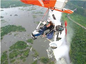 Belinda on a micro-light flight over Victoria Falls and the Zambia, Zimbabwe and Botswana borders.