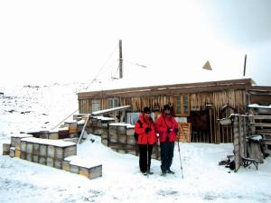 Jodi and her father, Douglas, outside Shackleton's Hut.