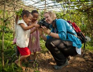 Karen McGrath with children at the Community Agriculture Program at Thailand's Mae La Refugee Camp.