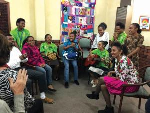 Students from the Australian Papuan Cultural Exchange visiting Trinity North Uniting Church.