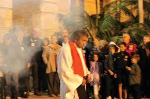Rev Sealin Garlett before the ordination of Rev Sam Dinah and Rev Robert Jetta at the traditional smoking ceremony.
