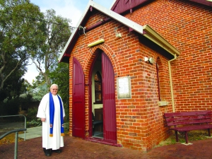 Rev Nick Stuurstraat outside Glen Forrest Uniting Church.