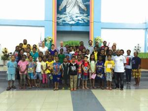 Members of the Uniting Church WA with the youth group at Martin Luther Church in Sentani.