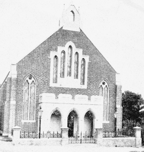 The original church in Pier Street where Westminster House now stands. It was opened on 1 August 1882.