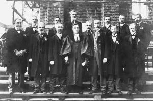 Session and Board of Management taken at the laying of the foundation stone of the St Andrew's church. Back row: Messrs T Grieve (Elder), H Plaistowe, Dr Morrison, John Wardrop (Elder), R B Grieve, W Duncan, Henry Scott (Elder). Front row: Messrs W H Meek (Elder), J Coultas, Jas Longmore (Elder), Rev A S James, John Nicholson, John Stains and J Marshall.