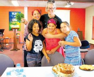 Crystal Claite and Natasha Bargeus (back) with Caitlin, Darian and Mia celebrating a birthday at Port Hedland Uniting Church.